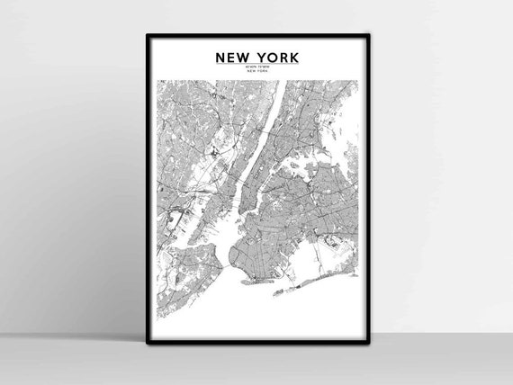 NEW YORK City Map, New York Map Print, USA us Map Download, United States  street map, poster, map of, wall art map