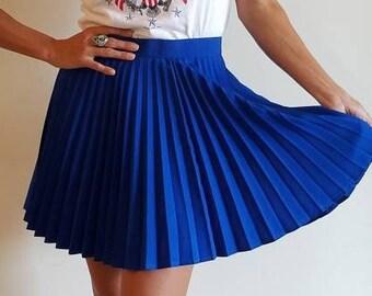 e040abbdc6 Vintage HEAD 80s/90s Royal Blue Pleated Mini Skirt/Tennis Skirt