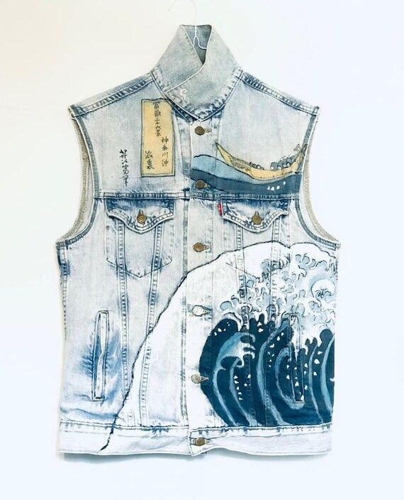 "Vintage Levis denim unisex vest hand painted ""The"