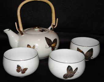 Vintage Butterflies Teapot With 3 Cups Takahashi