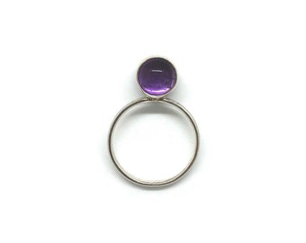 Lear Collection | Stackable Ring Amethyst | Sterling Silver 925 and Amethyst | Purple