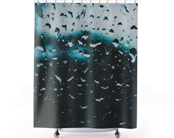 Raindrops Shower Curtain Rain Water Abstract Bathroom Decor Curtains Home