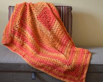 Tangerine Granny Square Baby Blanket