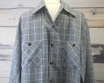 a7cc5d0fb40 Vintage Sears Perma Prest Plaid Button Up Shirt