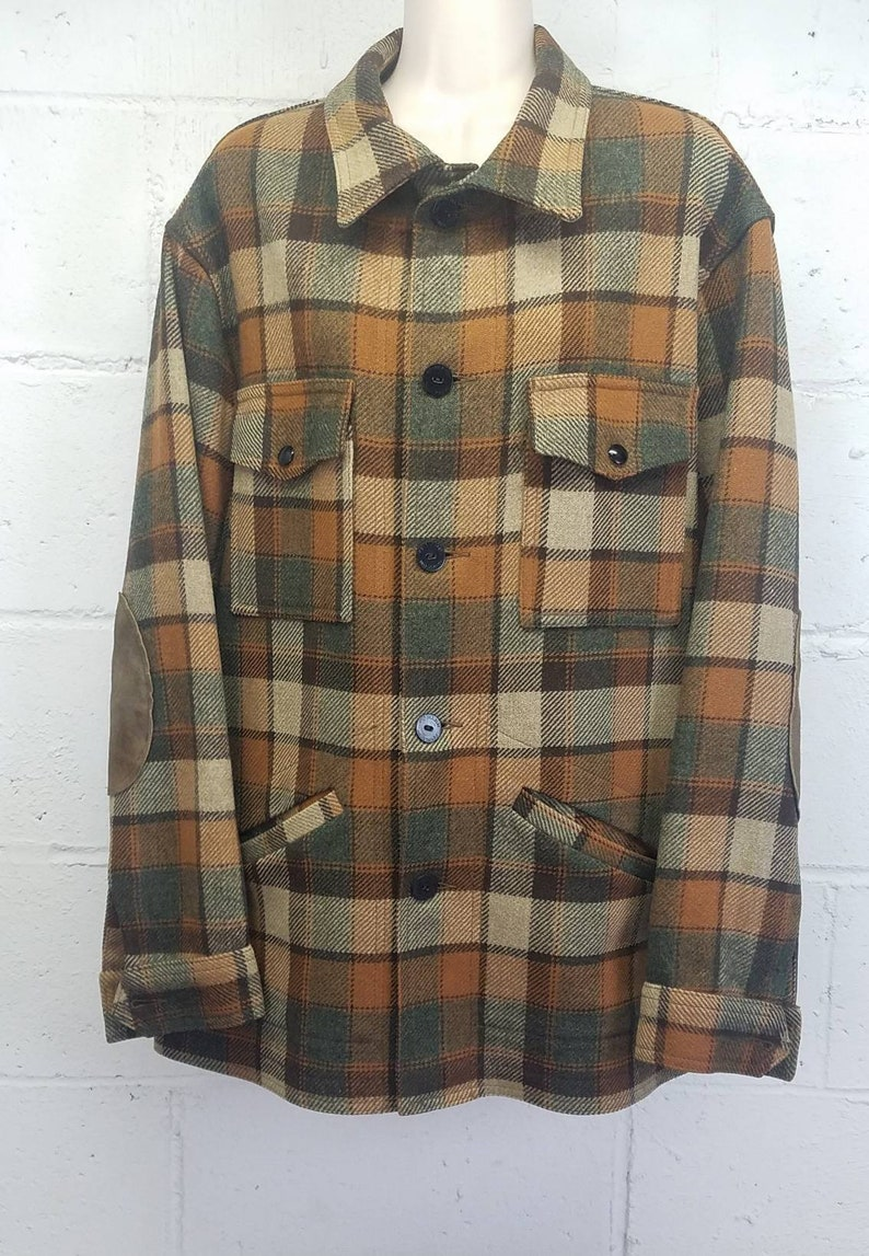 Vintage Pendleton Plaid Wool Flannel with Suede Elbow Patches Burnt Orange Brown Grandpa Flannel Lumberjack Size Larege Portland USA