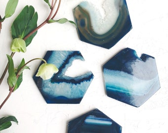 Agate Crystal Hexagon Coasters