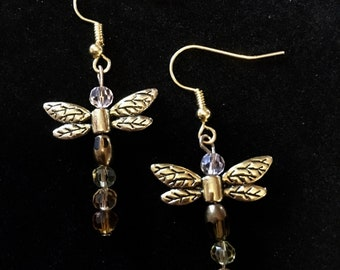 Dragonfly Earrings, Gold Earrings, Dragonfly jewlery, Brown and clear Beads
