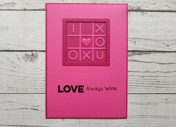 Love Always Wins Quotes Adorable Card Love Always Win Tic Tac Toe Quotes Handmade Card Etsy