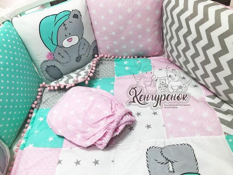 handmade toddlernewborn pillows, crib sheet,bumper,me too you crib bumper Mint Crib bedding with a Bear/'s pillow bumper