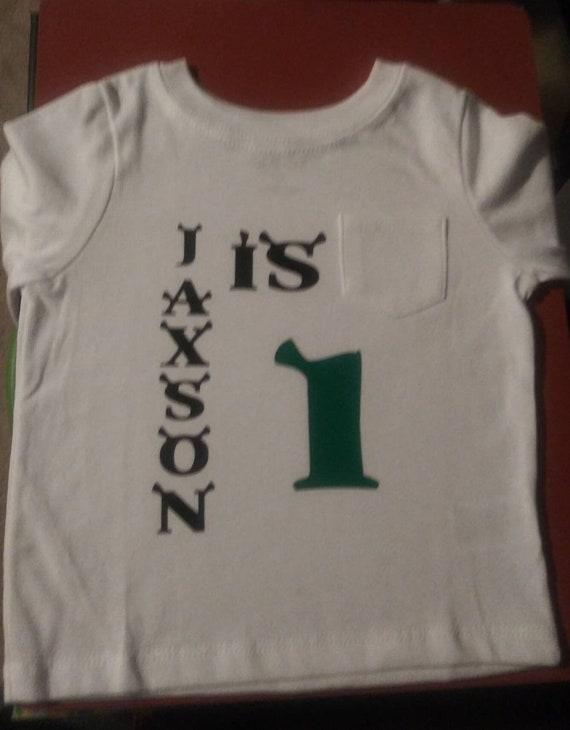 eac6b0bea Shrek inspired writing 1st Birthday Shirt Green Black Boys | Etsy