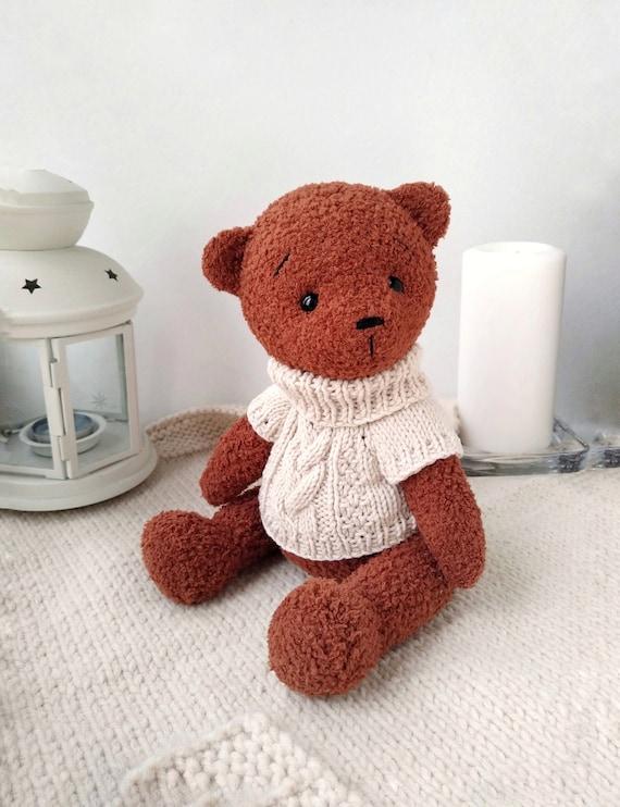 Soft crochet teddy brown bear Teddy bear toy with heart Gift | Etsy | 742x570