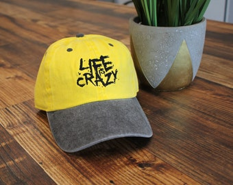 Life Is Crazy Dad hat Two tone yellow and Charcoal - Streetwear - Hypebeast 80efa2e5bb9