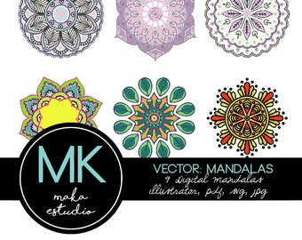 Mandala Package: AI, PDF, SVG and JPG-editable files-silhouette and color.