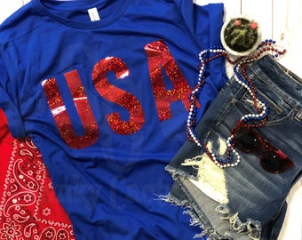 Youth Patriotic USA shirt-Independence Day-4th of July-Fourth of July-Patriotic shirt-Family shirts for 4th of July-Red, white & blue
