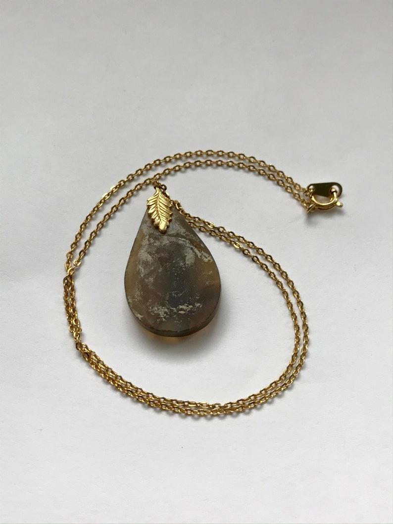 Vintage Agate Drop Pendant Necklace