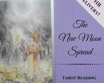 New Moon reading, tarot reading, moon readings, moon phases, spiritual reading, psychic reading, intuitive reading, email pdf, Divination
