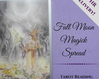 Full Moon Magick Reading, tarot reading, moon reading, moon phases, psychic reading, intuitive reading, email pdf, Divination