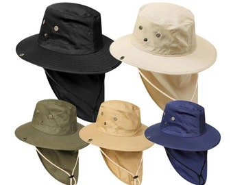 Navy Unisex Hat Sun Visor Cap Hat Outdoor UPF 50 Sun Protection with Ear Neck Flap Cover for Cycling  Hiking Camping Fishing