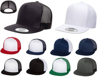 98218187694 Yupoong Custom or Blank Five-Panel Classic Trucker Hat Snapback Structured  Flat Bill Cap 6006