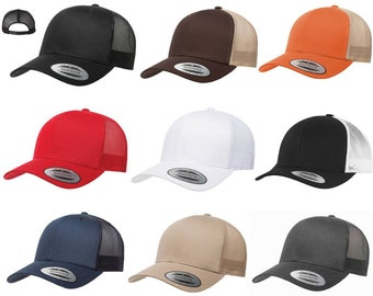 b802dabd56f58 Yupoong Custom or Blank Six-Panel Classic Trucker Hat Snapback Structured  Curved Bill Cap 6606