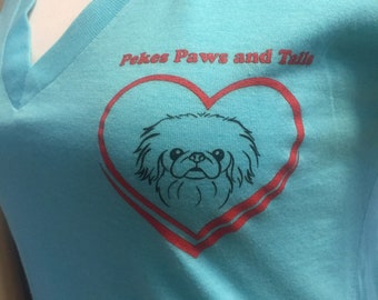 """The Original """"Medium"""" Pekes Paws and Tails VNeck T-Shirt, Nonprofit Rescue, Turquoise, SIZE MED, TriBlend"""