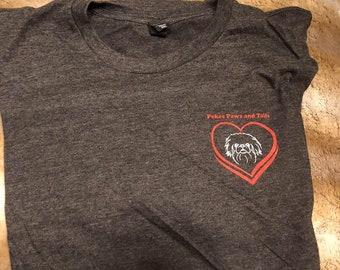 The Original  Pekes Paws and Tails Dark Grey FEMALE MEDIUM T-Shirt, Nonprofit Rescue, MEDIUM TriBlend Crew neck
