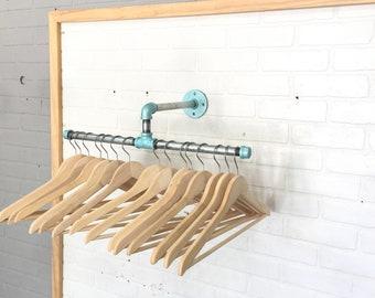 Single Mount Split Industrial Clothing Rack with - Retail Display