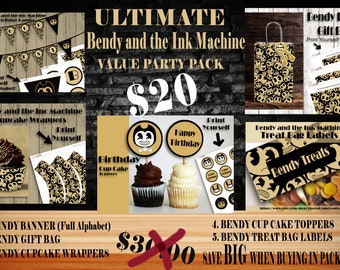 Bendy and the Ink Machine, Bendy ULTIMATE PACKAGE, Bendy Gift bag, Bendy Birthday Banner, Bendy Cupcake wrapper, Bendy Cupcake toppers
