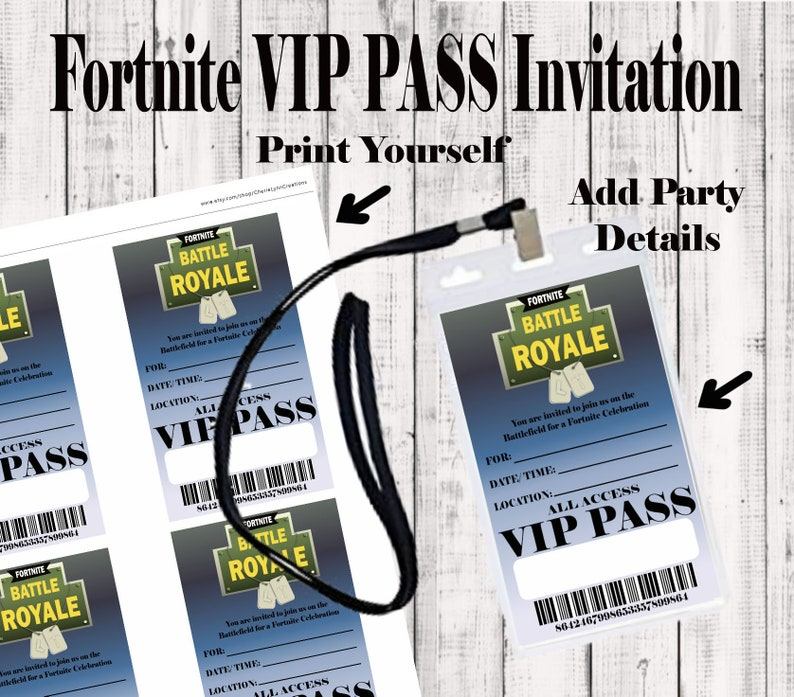 DIY Printable VIP Pass invitation, Instant download, Party Favor