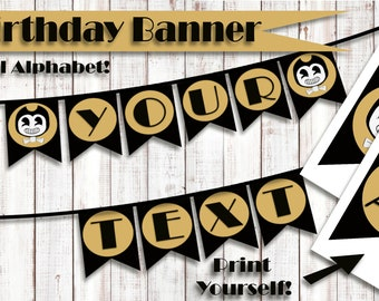 Bendy and the Ink Machine Banner, Bendy Printable Banner, Bendy Birthday, DIY Bendy Banner, Birthday Banner, Bendy Birthday decor, Printable