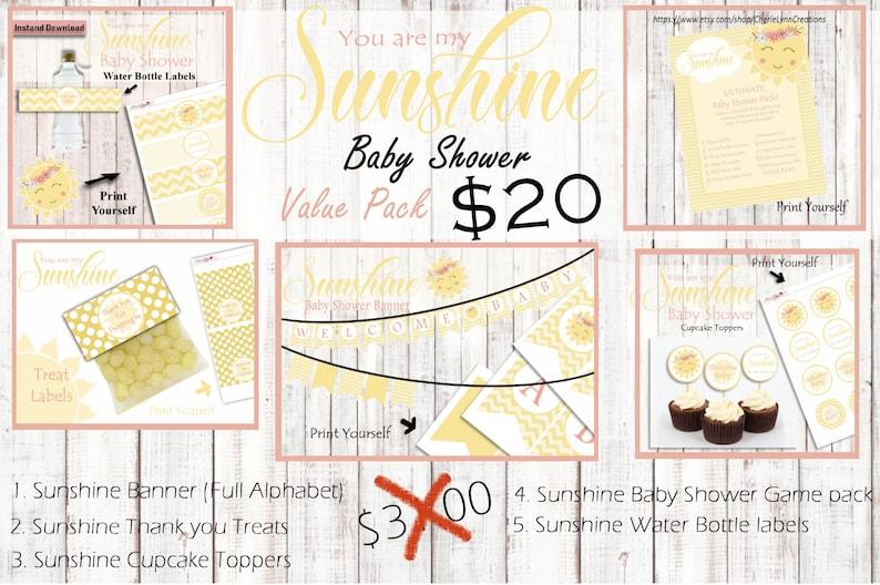 Sunshine decor Sunshine Baby shower Baby Shower decor Baby Shower Ultimate Baby Shower Pack You are my sunshine baby shower