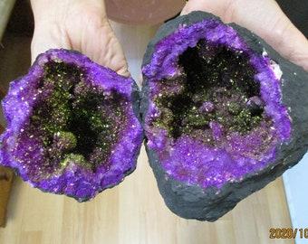 Purple and gold quartz selenite crystal geode 120mm Both halves FERTILITY