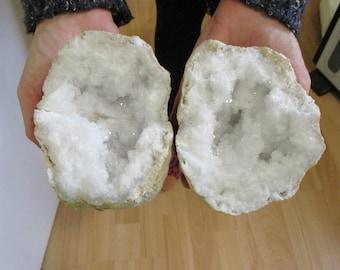 Large pair white  White Selenite Geode Crystal 110 - 140mm fertility