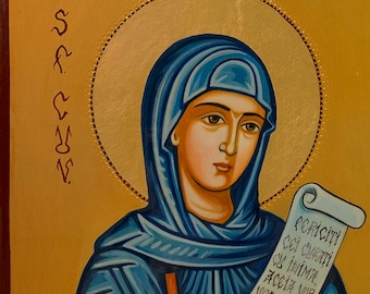 Saint Paraskeva of the Balkans hand-crafted & hand-painted Orthodox Holy Icon on wood with 22K gold leaf