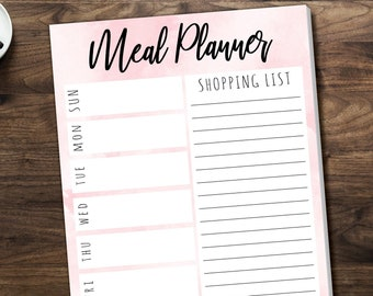 Printed Meal Planner Logs/ 50 Sheets per pad
