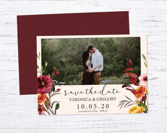 Save the Date Magnet OR Printed Card, Save our Date, Fall Wedding, Burgundy, Burnt Orange