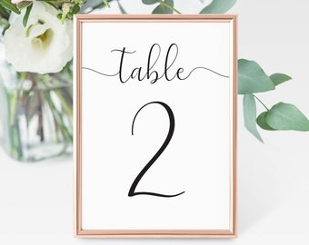PRINTED Table Number Cards, Wedding Table Numbers