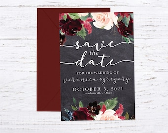 Save the Date Magnet OR Printed Card, Save our Date, Fall Wedding, Burgundy, Rustic Wedding, Dusty Rose