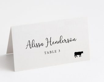 Printed Place Card, Wedding Name Card, Wedding Table Card, Escort Card, Table Tent Cards, Minimal Script