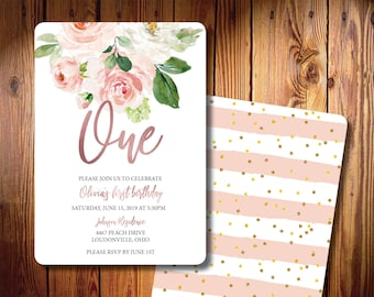 Floral Printed Birthday Party Invitations