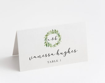Printed Place Card, Minimal Greenery