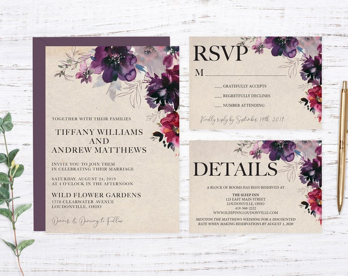 Featured listing image: Rustic Garden Printed Wedding Invitation