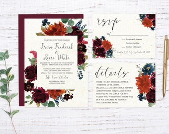 Burgundy Garden Printed Wedding Invitation