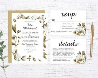 Cotton Wreath Printed Wedding Invitation