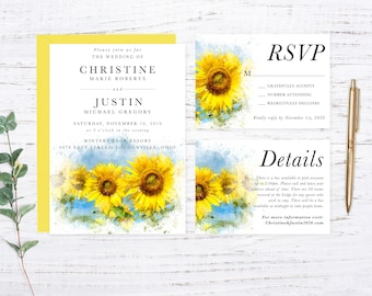 Sunflower Printed Wedding Invitation