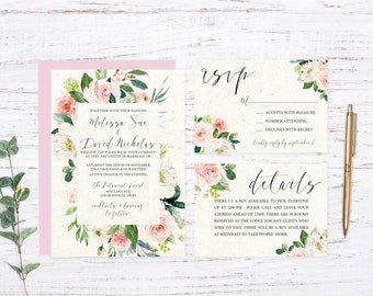 Blush Floral Printed Wedding Invitations