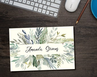 Mint & Sage Foilage Personalized Note Cards with Envelopes / 130 lb Smooth or 100 lb Texture Paper, Stationery Set, Custom