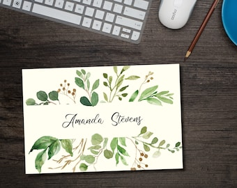 Spring Greenery Personalized Note Cards with Envelopes