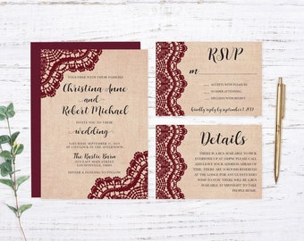 Burlap and Burgundy Lace Printed Wedding Invitation