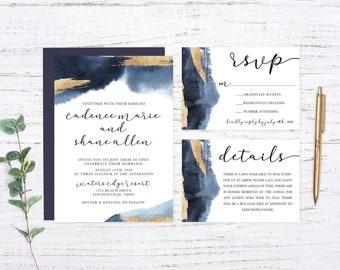 Navy Printed Wedding Set